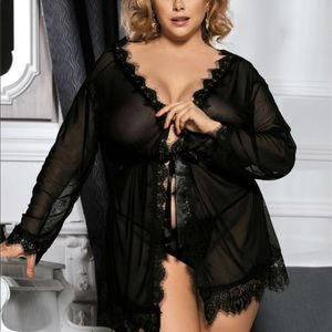 Other - Plus size Sheer Lace Robe & G String Set Sz 3X